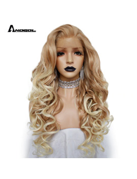 "Anogol 150% Long Deep Wave Gold Blonde Ombre Synthetic Lace Front Wigs Free Part High Temperature Fiber 24""Hair Wig For Women by Ali Express.Com"