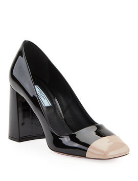 Patent 85mm Cap Toe Pumps by Prada