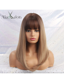 Alan Eaton Long Ombre Brown Blonde Wigs With Bangs Cosplay Synthetic For Black Women Afro Straight Natural Party False Hair Wigs by Ali Express.Com