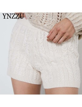 Autumn White Women Knitted Shorts 2019 New Arrival Elastic Slim Female Shorts Fashion High Waist Trousers Vintage Ynzzu Yb381 by Ali Express.Com