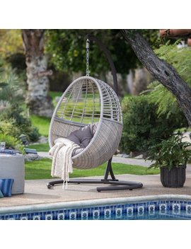 Belham Living Palma Resin Wicker Hanging Egg Chair With Cushion And Stand by Belham Living