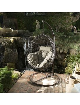 Kyle Outdoor Wicker Hanging Basket Chair With Water Resistant Cushions And Base by Ebay Seller