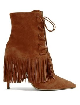 Mustang 105 Fringed Suede Ankle Boots by Aquazzura