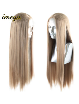 Imeya Long Silky Straight Ash Blonde Synthetic Lace Front Wigs High Temperature Lace Wigs For Women With Natural Hairline by Ali Express.Com