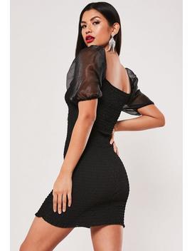 Black Organza Balloon Sleeve Shirred Mini Dress by Missguided