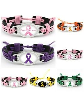 7 Style Pink Ribbon Breast Cancer Fighter Hand Woven Leather Bracelet 1 Pcs by Sl