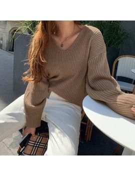 Naning9   V Neck Rib Knit Sweater by Naning9