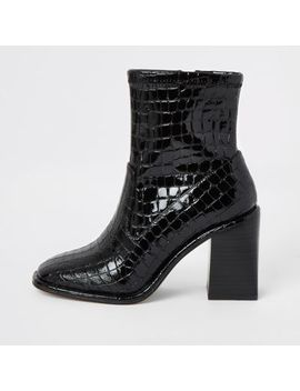 Black Croc Embossed Heeled Ankle Boots by River Island