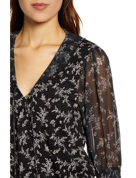 Mixed Print Sheer Sleeve Top by Lucky Brand