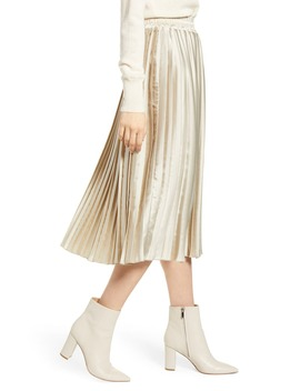 Brooklyn Pleated Satin Skirt by Lucky Brand