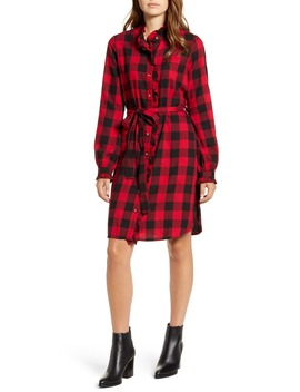 Mackenzie Buffalo Plaid Long Sleeve Cotton Blend Shirtdress by Lucky Brand
