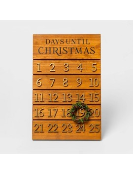 "17.9"" X 11.8"" Wooden Advent Calendar With Wreath Brown/Gold   Threshold™ by Threshold"