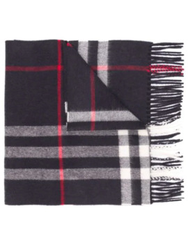 Cashmere Fringed Check Scarf by Burberry