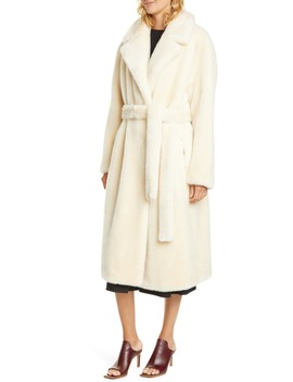 Belted Faux Fur Coat by Tibi
