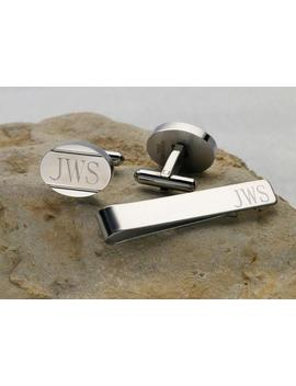 Personalized Cuff Links Tie Bar Clip Set Customized Oval Stainless Steel Cuff Links, Monogram Gift For Man, Dad, Groom, Groomsmen Engraved by Etsy