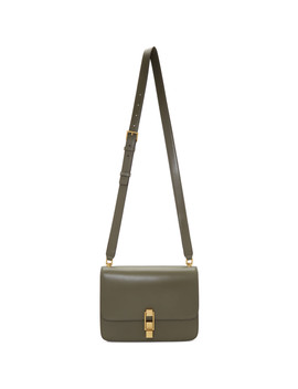 Khaki Carré Satchel Bag by Saint Laurent