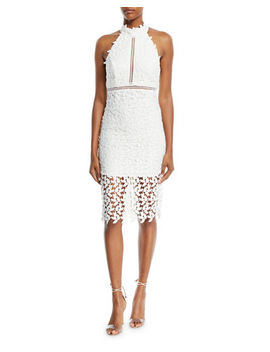 Bardot Gemma Sleeveless Halter Lace Guipure Cocktail Dress by Bardot