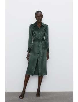 Vestido Midi Satinado by Zara
