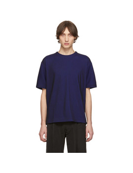 Blue & Black Tucked Stripe T Shirt by Issey Miyake Men
