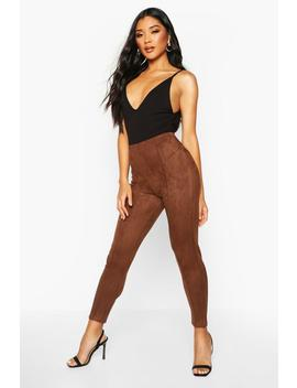 Stretch Suede Seam Front Leggings by Boohoo