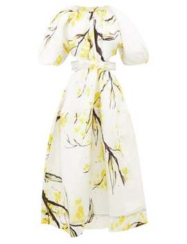 Mimosa Floral Print Linen Blend Satin Dress by Aje