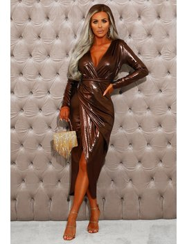 Popping Champagne Rose Gold Long Sleeve Metallic Wrap Midi Dress by Pink Boutique