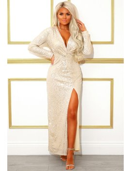 Met Ball Babe Champagne Sequin Long Sleeve Maxi Dress by Pink Boutique