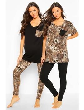 Maternity Leopard Print 2 Pack Pj Set by Boohoo