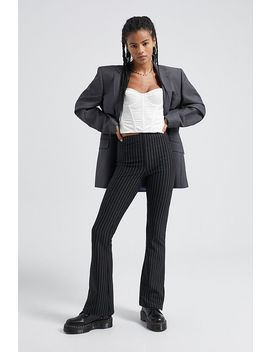 Uo Pinstripe Side Split Flare Trousers by Urban Outfitters
