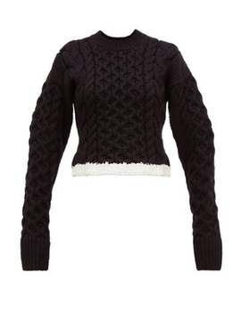 Cable Knit Wool Blend Sweater by Joseph