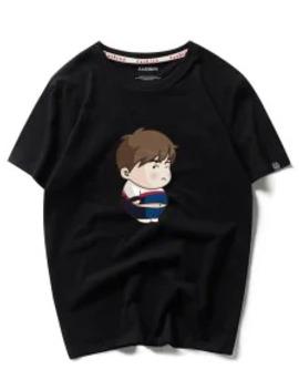 Sale Cartoon Boy Print Short Sleeves T Shirt   Black M by Zaful