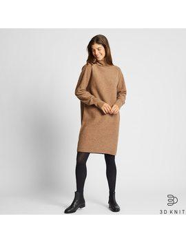 Damen 3 D Strickkleid Aus Premium Lammwolle Mit Rollkragen by Uniqlo