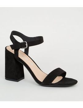 Black Suedette Ankle Strap Flared Block Heels by New Look