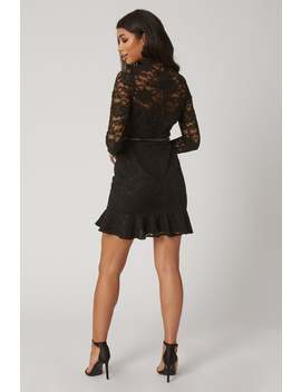 Paper Dolls Carman Black Lace Belted Peplum Mini Dress by Little Mistress