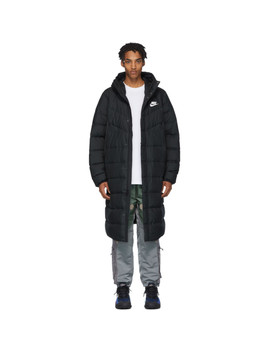 Black Long Down Windrunner Jacket by Nike