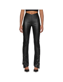 Black Faux Leather Side Snap Trousers by Alexanderwang.T