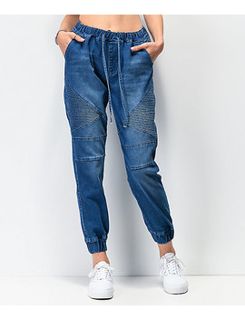 Almost Famous Moto Denim Jogger Pants by Almost Famous