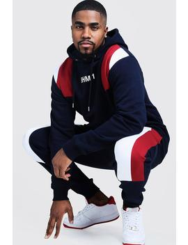 Big & Tall Colour Block Tracksuit by Boohoo