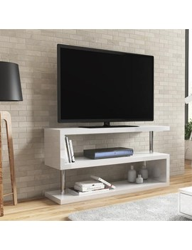 """Artemis White High Gloss Geometric Tv Stand   Tv's Up To 50"""" by Appliances Direct"""