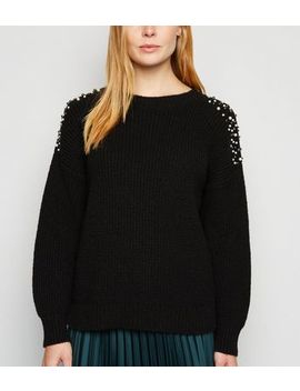 Black Faux Pearl Embellished Ribbed Jumper by New Look