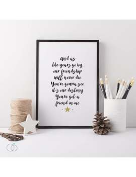 Toy Story Art Print   Disney Pixar Print   Toy Story Lyrics   You've Got A Friend In Me   Toy Story Lyrics   Friendship Quote by Etsy