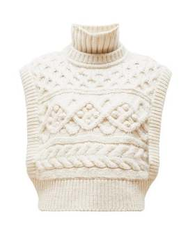 Minea Tiered Funnel Neck Cabled Merino Sweater by Isabel Marant