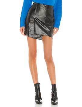 Faux Leather Overlap Mini Skirt by J.O.A.