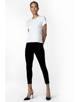 835 Mid Rise Cropped Skinny In Black Corduroy by J Brand