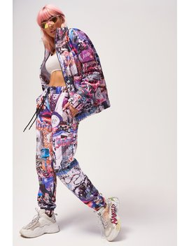 Lips Collage Print Quilted Joggers by Jaded London