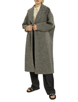 Rianna Houndstooth Oversized Wool Coat by Les Coyotes De Paris