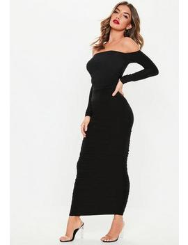 Tall Black Bardot Slinky Ruched Bodycon Midaxi Dress by Missguided