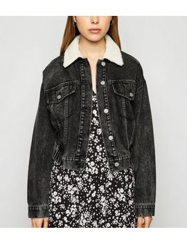 Black Teddy Collar Denim Bomber Jacket by New Look