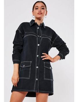Tall Black Contrast Stitch Utility Denim Mini Dress by Missguided