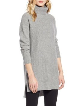 High/Low Tunic Turtleneck Cashmere Sweater by Halogen